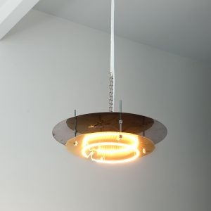 """""""Lampe"""", 2020, Brass, Steel, Heat bulb, 25 x 60 x 60 cm"""