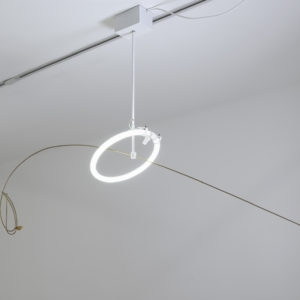 """Il Suono dell'Aqua"", 2016, Neon, iron, brass, maple seed, 125 x 170 x 40 cm"