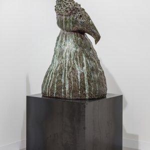 Azteka, 2018, Glazed ceramic and steel, 137x 89 x 89 cm (pedestal: 101 x 89 x 89 cm)