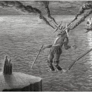 """Falling Giant Conquistador #2"", 2008, Pencil on paper, 21 x 31 cm (framed: 40 x 48,5 cm)"