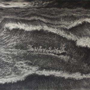 """Ahoy brothers! No land ahead !"" #2, 2010, Oil charcoal on paper, 70 x 100 cm"