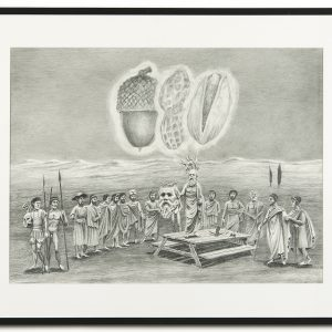 """Socrates presenting the Socrates Automatic Barbeque to the folk"", 2013, Pencil on paper, 50 x 66,2 cm (framed: 66 x 82 x 3 cm)"