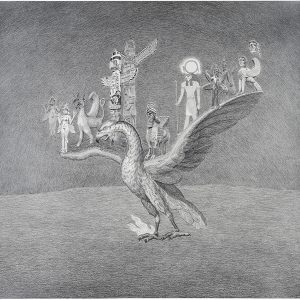 """Antipelargisi/ Sitted on the Phoenix are Lilith, Gryphon,Thunderbird, the Winged Bull, Ra, Pazuzu and the Spinx"", 2015, Pencil on paper, 69 x 79 cm"