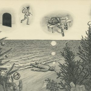 Dreaming of living the dream, cast away in Christmas island, 2016, Pencil on paper, 30 x 42 cm