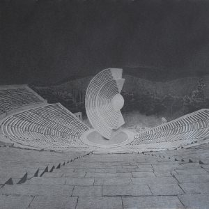 """Theater plays an important role"", 2016, Pencil on paper, 85 x 105 cm"