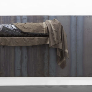 Untitled, 2006, Iron, military blankets, 200 x 400 x 50 cm
