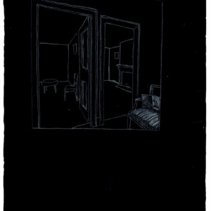 Untitled (two rooms), 1993, White charcoal on black paper, 76 x 57 cm