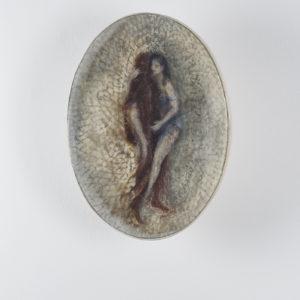 Iris, 2016, Oil, beeswax, resin on acrylic resin, glass 40 x 30 x 18 cm