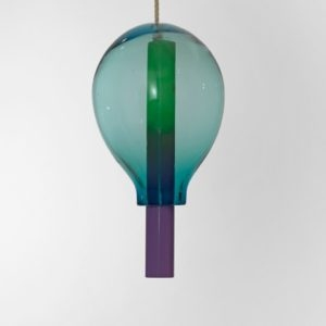 Untitled, 2014, Blown glass, painted steel, rope 54 x ∅ 29 cm