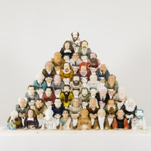 Philosophers forming a human pyramid, 2014, Glazed ceramic, bronze, copper 120 x 160 x 40 cm © Photography Boris Kirpotin, February 2016 Athens, Greece