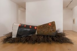 Casa sulla foresta, 1989, Metal structure, wire mesh, rubber, wax, neon, approx. 140 x 450 x 300 cm