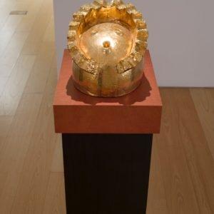Eierkopf halb, 2014, Glazed ceramic 25 x 28 x 36 cm Pedestal: 111,5 x 45 x 35 cm