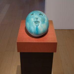 Eierkopf voll, 2014, Glazed ceramic 18 x 32 x 23,5 cm Pedestal: 111,5 x 45 x 35 cm