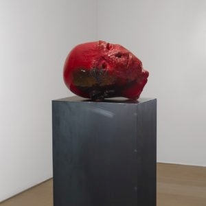Kaputer Kopf II, 2014, Glazed ceramic 30 x 45 x 33 cm steel base: 120 x 45 x 30