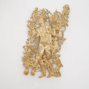I Don't Want to be a Hero, 2013, Brass, resin, color pigment, thread 2/2 (Edition of 2 in brass + 1 AP in aluminum) 230 x 130 cm