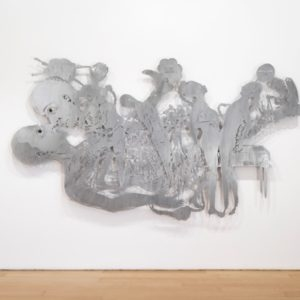 Need time to Forget, 2014, Aluminum plate, resin, color pigment, thread Unique 192 x 300 cm