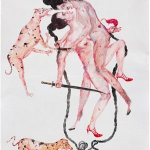 Invisible Threat, 2014, Watercolour on paper Unique 167 x 107 cm