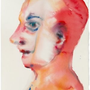 Portrait in Red, 2014, Watercolour on paper Unique 45 x 32,5 cm