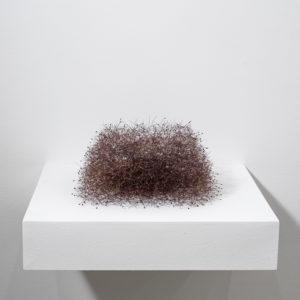 Durchlässiger Kubus (Permeable Cube), 2014, Tree blossoms 18 x 32 x 30 cm