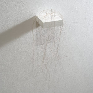 Kleine Haararbeit (Little Hair work), 2013, Horse hair, needles ca. 46 x 23 x 18 cm On pedestal 1,8 x 12 x 10 cm