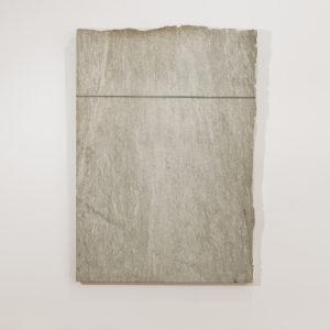 "Untitled, 1990, Granite ""Verde Argento"", canvas, cable, slip-knot 200 x 139 x 6,5 cm"
