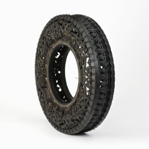 Untitled (Car Tyre), 2006, Hand-carved car tire ∅ 82 x 17,5 cm