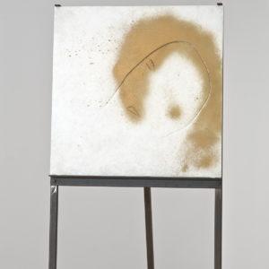 Untitled, Undated, Mixed media on alabaster on iron tripod 50 x 50 x 1,5 cm