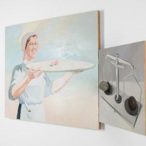 """""""Plus Minus"""", 2012, Oil on board, mixed media 100 x 120 cm, 60 x 60 cm"""