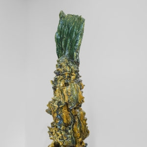 "detail from ""Personnage VI"", 2014, Glazed ceramic, steel Sculpture: 101 x 27,5 x 23 cm Pedestal: 81,5 x ∅ 39 cm"