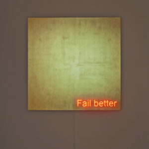 """Fail better"", 2014, Aluminium, gold leaves, led 140 x 140 cm"