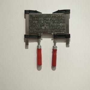 """19.9.1902"", 2014, Lead, clamps 25 x 21 cm"