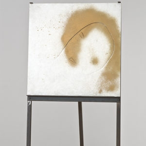 Untitled, undated, mixed media on alabaster on iron tripod 50 x 50 x 1,5 cm