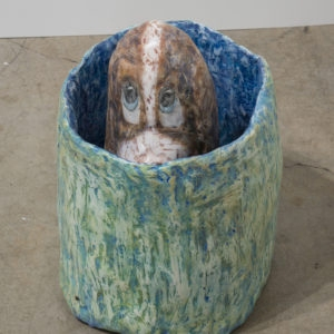 Hannah Greely, Dog, 2013, Hydrostone, chickenwire, papermache, tempera 30,5 x 28 x 40,5 cm