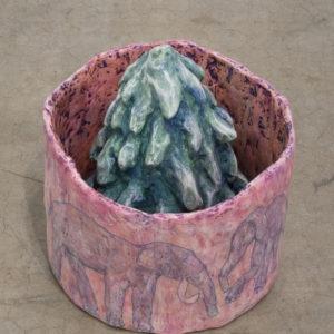 Tree, 2013, Hydrostone, chickenwire, paper mache, tempera, 35,5 x 35,5 x 43 cm