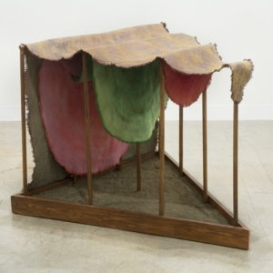 Sandwich Box, 2011, Wood, canvas, fabric dye, sand, 80 x 105 x 102 cm