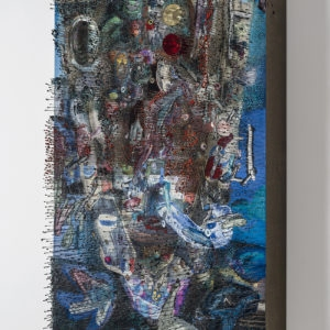 Over-long faces (Second View), 2017, Paper, oil, pins, abalone shell, glass, foam and linen on panel 92 x 61,5 x 13 cm