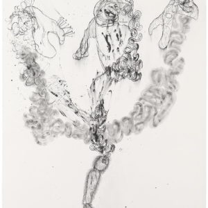 """""""Jack Knife Scarecrow"""" (close-up view), 2009, Ink on paper 120 x 80,5 cm"""
