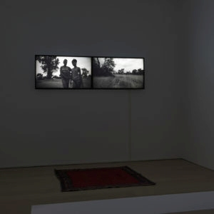 Installation view of: Nooksie & Janet, 2016, B&W HD video, two channel, two HD monitors Stereo sound Ed 1/3. 1AP Loop, running time: 7:32 (Music by Flying Lotus)