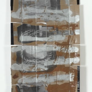 """""""Bound"""", 2009, Cardboard, tape, photocopies, spray-paint, polyester paint 120,5 x 67 cm"""