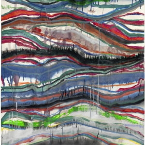 Oost, 2009, Nail polish, wine, acrylics, transparent lacquer, coloured pencils, ballpoint pen, spray paint and polyester paint on paper 140 x 100 cm