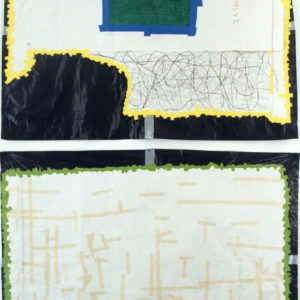 """""""Two Women"""", 2000, Dishcloth, photocopy, paper, sticky-tape, and other media on black plastic bag 2 x approx. 120 x 160 cm"""