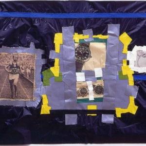 """Running Man"", 2000, Mixed media on black plastic bag 60 x 80 cm"