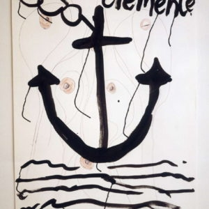 """""""San Clemente"""", 1999, Enamel, pencil and Indian Ink on paper 110 x 73"""