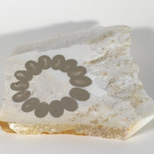 Untitled,1992, Small square slab of white Pendeli marble with mud drawing 17x22x23x20x2