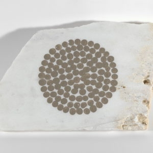 Untitled, 1992, Small piece of white Pendeli marble with mud drawing 24 x 35 x 24 x 30 cm (2 cm thick)