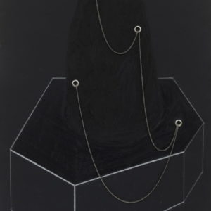 """Experimental Architecture 4"", 2007, Black paper, chrome chanis, chrome rivets, oil pastel, collage 70 x 50 cm 105 x 74,5 cm framed"