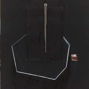 """Experimental Architecture 8"", 2007, Black paper, chrome chanis, chrome rivets, oil pastel, collage 70 x 50 cm 105 x 74,5 cm framed"