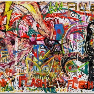 """DJANGO'S BLITZPIMMEL HEISST NILL"", 2011, Oil and acrylic on canvas 210.4 x 421 x 3.3 cm"
