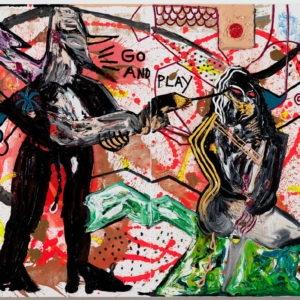 """""""ACHTUNG: KILLERNILL-RUM UND RUM-NEDDY-CASHY PIMMELN RUM"""", 2011, Oil on canvas 210.4 x 280.8 x 4.5 cm"""