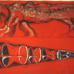"""Red Lion"", 1981, Charcoal, Paint, Spray on Red Cotton (2) x 150 x 500 cm"
